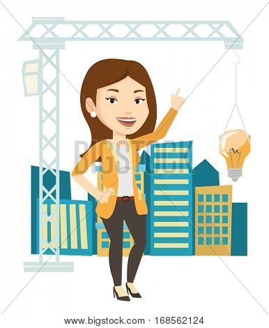 Caucasian woman pointing at idea light bulb hanging on crane. Architect having idea in town planning. Concept of new ideas in architecture. Vector flat design illustration isolated on white background