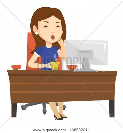 Tired employee yawning while working in office. Exhausted young employee yawning. Sleepy employee drinking coffee at work in office. Vector flat design illustration isolated on white background.
