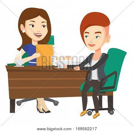 Businesswomen talking on business meeting. Women drinking coffee on business meeting. Two caucasian businesswomen during business meeting. Vector flat design illustration isolated on white background.