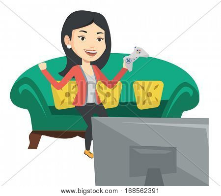 Happy gamer playing video game. Excited woman with console in hands playing video game at home. Woman celebrating victory in video game. Vector flat design illustration isolated on white background.