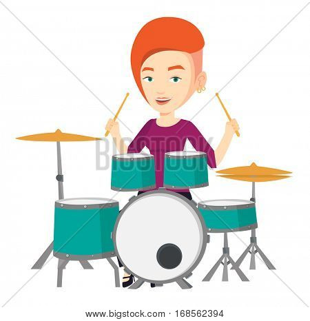 Young smiling woman playing on drums. Caucasian mucisian playing on drums. Happy female drummer sitting behind the drum kit. Vector flat design illustration isolated on white background.