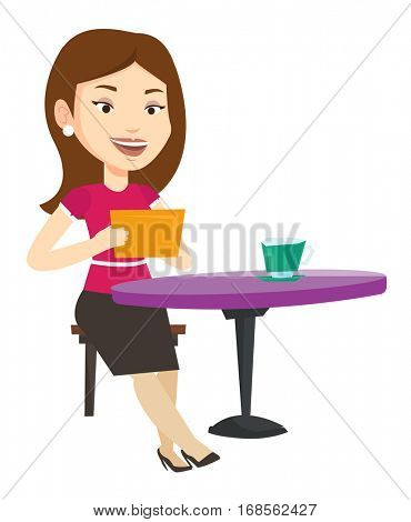Woman using a tablet computer in a cafe. Woman surfing in the social network. Woman rewriting in social network. Social network concept. Vector flat design illustration isolated on white background.