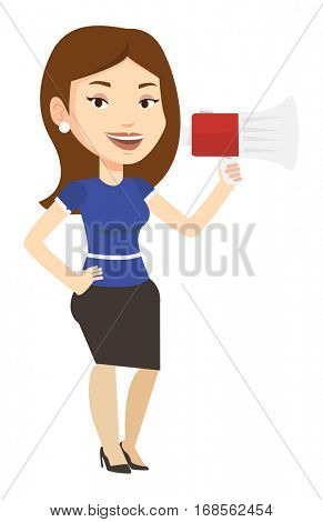 Caucasian woman holding megaphone. Promoter speaking into a megaphone. Woman advertising using megaphone. Social media marketing concept. Vector flat design illustration isolated on white background.