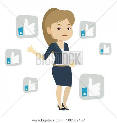 Young woman showing thumb up and like social network buttons around her. Woman with laptop and like social network buttons with thumb up. Vector flat design illustration isolated on white background.