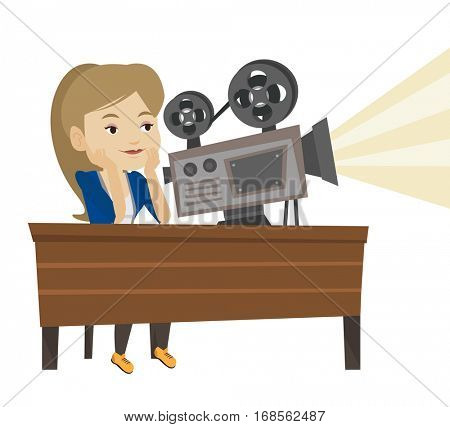Woman sitting at the table with film projector in the room of projectionist. Projectionist showing new film. Young projectionist at work. Vector flat design illustration isolated on white background.