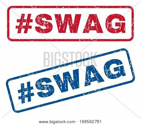 Hashtag Swag text rubber seal stamp watermarks. Vector style is blue and red ink tag inside rounded rectangular shape. Grunge design and dust texture. Blue and red stickers.