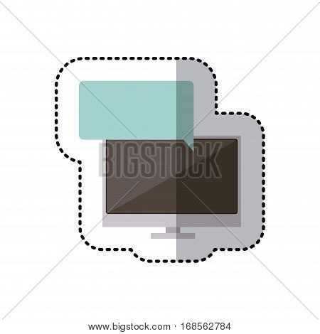 sticker colorful tech screen computer in wide flat dialogue callout box vector illustration