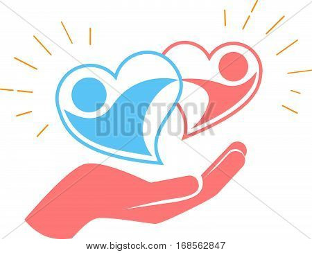 Hand Holds Two Loving Hearts