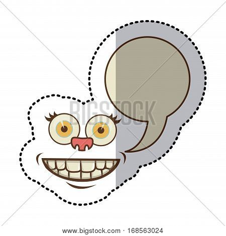 sticker colorful face cartoon gesture with dialogue callout box vector illustration