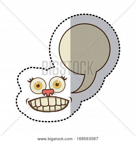 sticker colorful face cartoon gesture with dialogue circular box vector illustration
