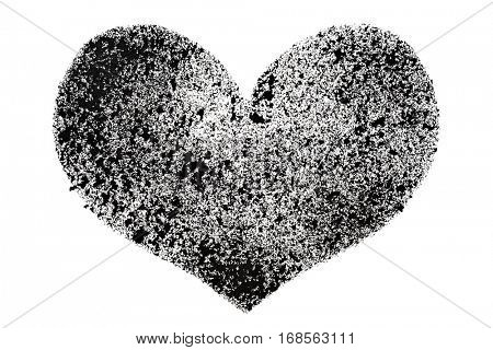 Black stenciled heart isolated on the white background -- raster illustration