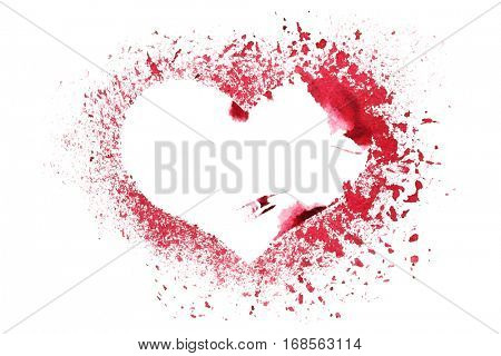 Grunge stencil red heart isolated on the white background