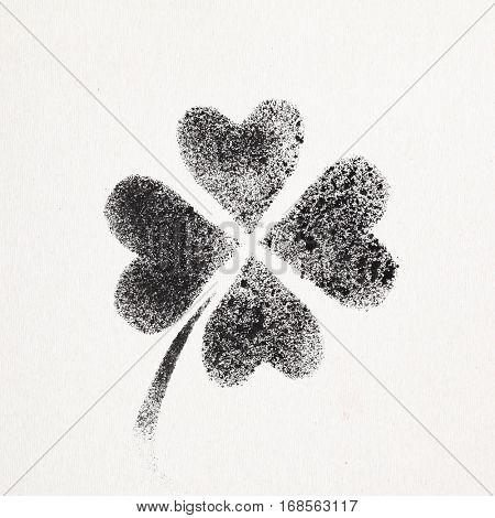 Stenciled four-leaf Irish clover -- graffiti style raster illustration