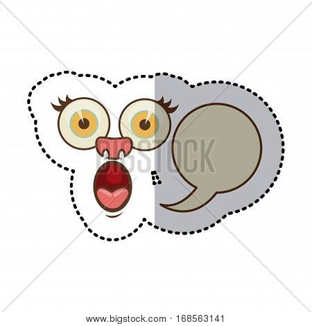sticker colorful face cartoon gesture with dialog circular box vector illustration