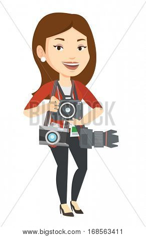 Cheerful paparazzi with many cameras. Caucasian photographer with many photo cameras equipment. Professional journalist with many cameras. Vector flat design illustration isolated on white background.