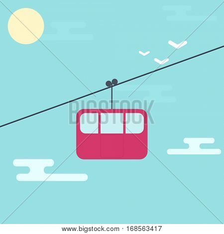 Cable car on the ski resort. Simple flat icon