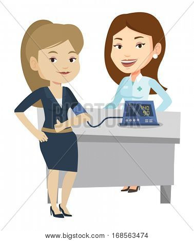Caucasain woman checking blood pressure with digital blood pressure meter. Woman giving thumb up while doctor measuring her blood pressure. Vector flat design illustration isolated on white background