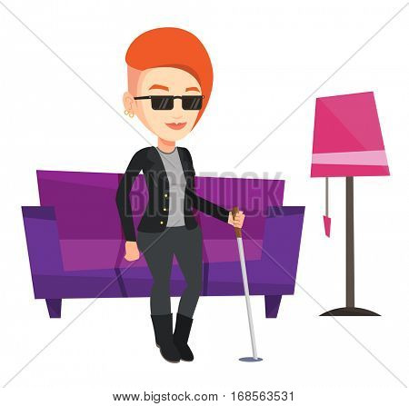 Caucasian blind woman standing with walking stick at home. Blind woman in dark glasses standing with cane. Blind woman walking with stick. Vector flat design illustration isolated on white background.