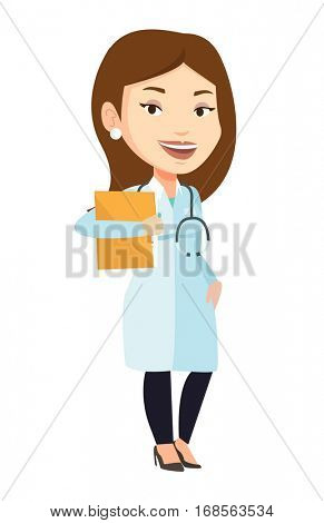 Caucasian doctor with stethoscope and folder. Young doctor carrying folder of patient. Doctor holding folder with medical information. Vector flat design illustration isolated on white background.