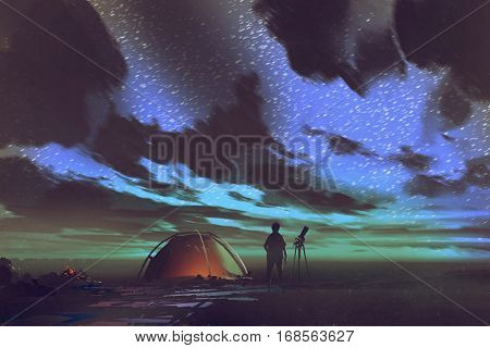 man with telescope standing by tent looking at the sky at night, illustration painting
