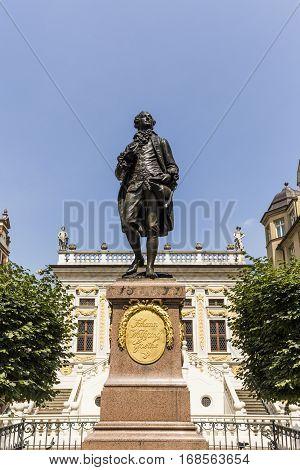 Statue of Johann Wolfgang Goethe at the Naschmarkt in Leipzig Germany