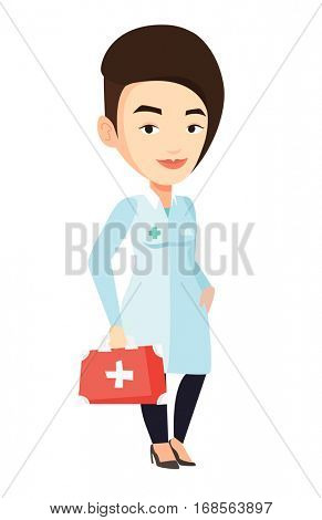 Caucasian female doctor in medical gown holding first aid box. Friendly doctor standing with first aid kit. Doctor carrying first aid box. Vector flat design illustration isolated on white background.