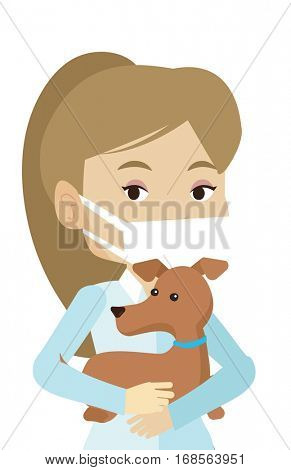 Young caucasian veterinarian holding dog. Veterinarian in medical mask carrying a dog. Female veterinarian examining dog. Pet care concept. Vector flat design illustration isolated on white background
