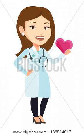 Cardiologist in doctor uniform with heart in hand. Doctor cardiologist holding heart. Healthcare and prevention of heart problems concept. Vector flat design illustration isolated on white background.
