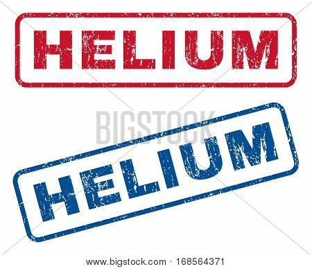 Helium text rubber seal stamp watermarks. Vector style is blue and red ink caption inside rounded rectangular shape. Grunge design and unclean texture. Blue and red emblems.
