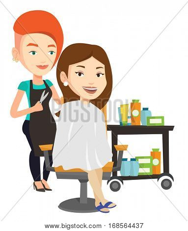 Stylish hairdresser cutting hair of young woman in beauty saloon. Hairdresser making haircut to a client with scissors in beauty saloon. Vector flat design illustration isolated on white background.