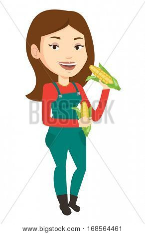Happy female farmer holding a corn cob. Smiling caucasian female farmer collecting corn. Female farmer standing with a corn cob in hands. Vector flat design illustration isolated on white background.