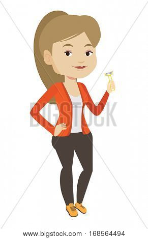 Caucasian woman holding razor for shave. Smiling woman holding a razor in hand and preparing to shave. Young woman with razor. Vector flat design illustration isolated on white background.