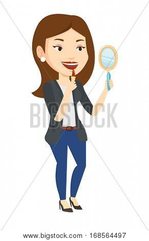 Smiling caucasian woman doing makeup and looking in hand-mirror. Woman rouge lips with red color lipstick. Young woman paints her lips. Vector flat design illustration isolated on white background.