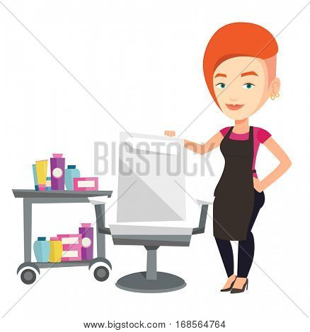 Caucasian hairdresser standing near armchair and table with cosmetics in barber shop. Hairdresser standing at workplace in barber shop. Vector flat design illustration isolated on white background.