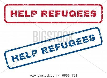Help Refugees text rubber seal stamp watermarks. Vector style is blue and red ink caption inside rounded rectangular shape. Grunge design and unclean texture. Blue and red emblems.