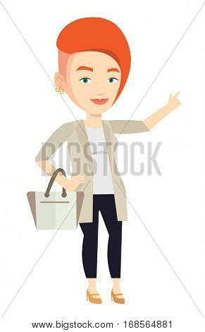 Young businesswoman pointing finger up because she came up with business idea. Businesswoman having business idea. Business idea concept. Vector flat design illustration isolated on white background.
