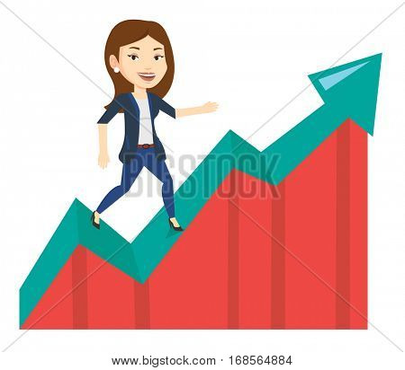 Business woman standing on profit chart. Caucasian successful business woman running along the profit chart. Concept of business profit. Vector flat design illustration isolated on white background.