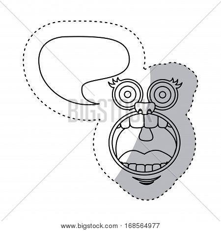 sticker contour face cartoon gesture with dialog irregular box vector illustration
