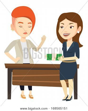 Caucasian businesswoman giving a bribe. Uncorrupted businesswoman refusing to take a bribe. Woman rejecting to take bribe. Bribery concept. Vector flat design illustration isolated on white background