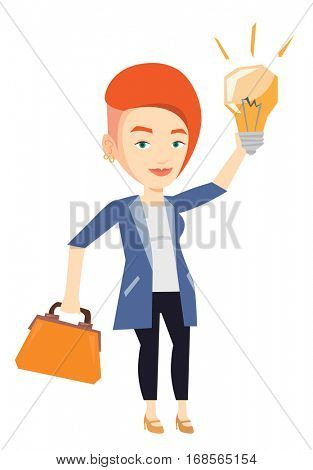 Young caucasian businessman pointing at business idea light bulb. Businesswoman having a business idea. Successful business idea concept. Vector flat design illustration isolated on white background.