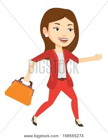 Caucasian business woman with briefcase in hand running. Happy business woman running in a hurry. Cheerful business woman running forward. Vector flat design illustration isolated on white background.