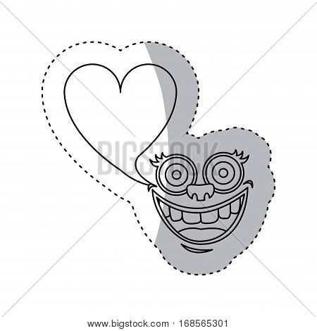 sticker contour face cartoon gesture with dialog heart shape box vector illustration