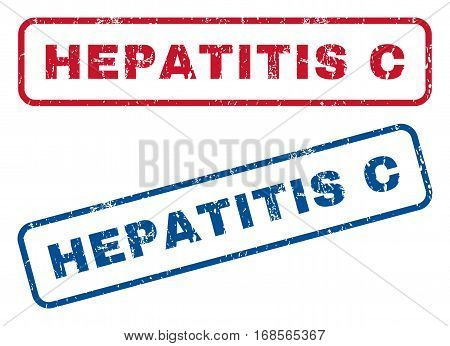 Hepatitis C text rubber seal stamp watermarks. Vector style is blue and red ink caption inside rounded rectangular shape. Grunge design and unclean texture. Blue and red signs.