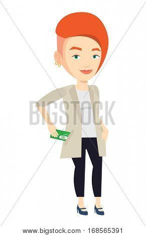 Caucasian business woman putting money bribe in pocket. Business woman hiding money bribe in pants pocket. Bribery and corruption concept. Vector flat design illustration isolated on white background.