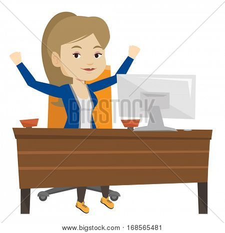 Successful business woman celebrating at workplace. Successful businesswoman celebrating business success. Successful business concept. Vector flat design illustration isolated on white background.