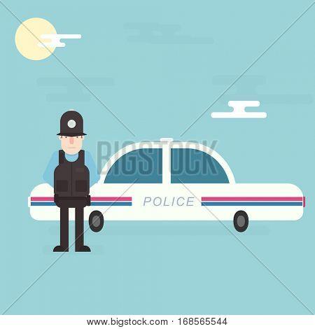 London policeman standing near police car