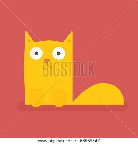 Ginger cat. Flat icon