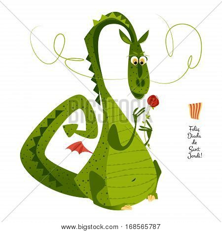 Dragon with a flower. Diada de Sant Jordi (the Saint George's Day). Traditional festival in Catalonia Spain. Vector illustration.