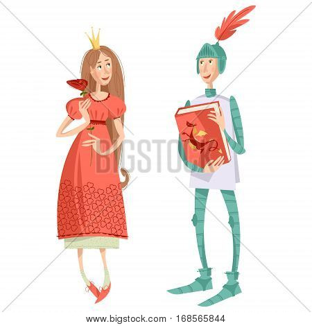 Princess with a rose and knight with a book. Diada de Sant Jordi (the Saint George's Day). Dia de la rosa (The Day of the Rose). Dia del llibre (The Day of the Book). Traditional festival in Catalonia Spain. Vector illustration.