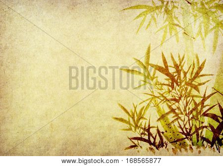 bamboo of Traditional chinese painting on old Paper Background